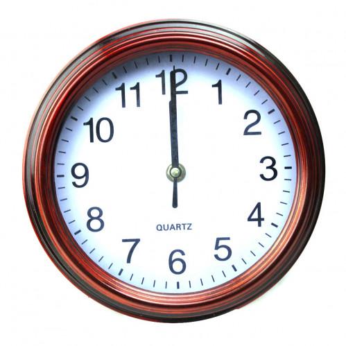 Часы №190 настен. пл. круг. объём. (22*22*6,5)см корич. цв.рамка бел. без шума 1R6 в бум. кор. (40)