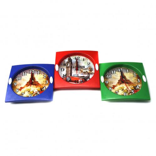 Часы №B07 настен. 8угол. пл. (15*15*3,5)см 3цв рамки 3вида рис. Башни +цв +фрукт. 1R6 в бум кор (90)