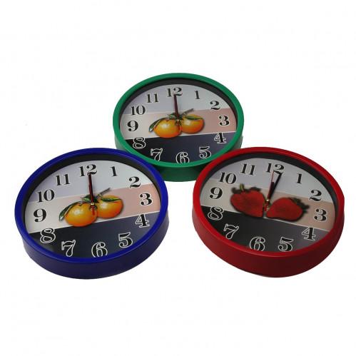 Часы №6011 настен. пл. круг. (25*25*4)см 3+3цв рамка и экр. без шума 1R6 в бум. кор. (40)