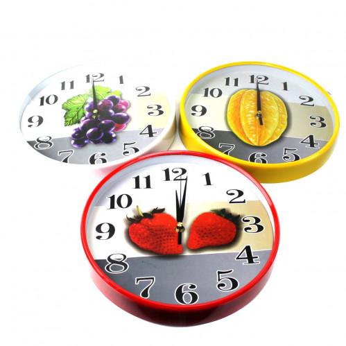 Часы №CYK-108S настен. пл. круг. 3цв +3рис доска фрукт. (4,5*29*29)см на 1R6 в бум. кор. (30)