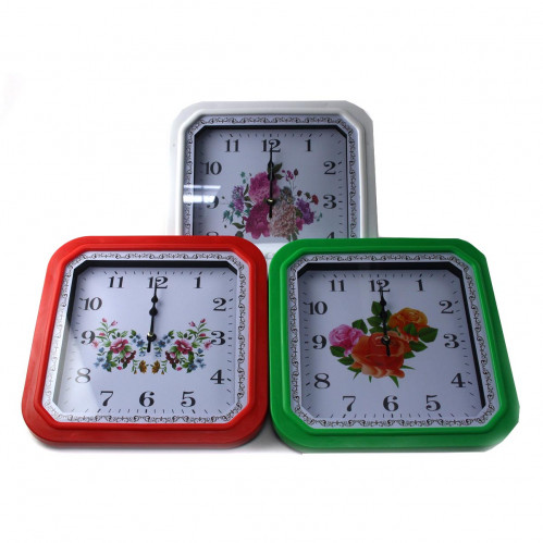 Часы №580 настен. пл. квадр. (25*25*3,5)см 3цв рам. 3+2рис цвет и фрук без шума 1R6 в бум. кор. (40)