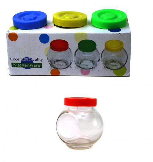 Набор д/специй №Т1-3Н стекл. +пл. цв. крышка ромашки 3шт в наб. 200мл в бум. уп. (48)