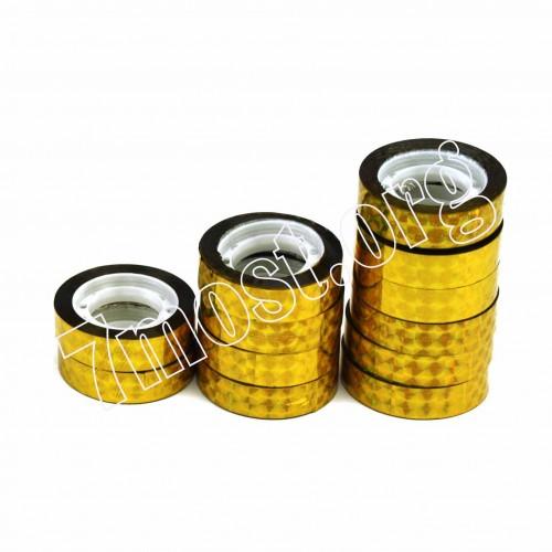 Скотч канц. №012-10-G канц. блест. 12шт в ср. пач. (0,12*10)м золотой (120столб.)