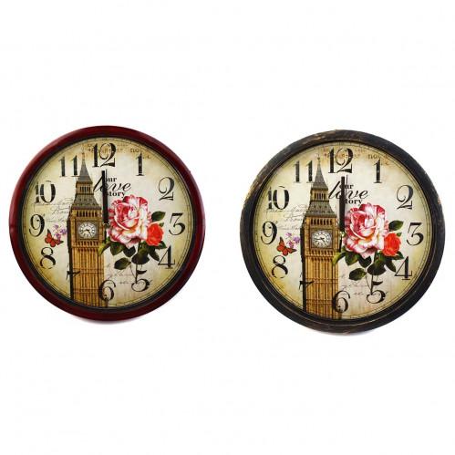 Часы №2200 настен. пл. круг. доска с рис. Башни (29*29*4)см 1R6 (30)