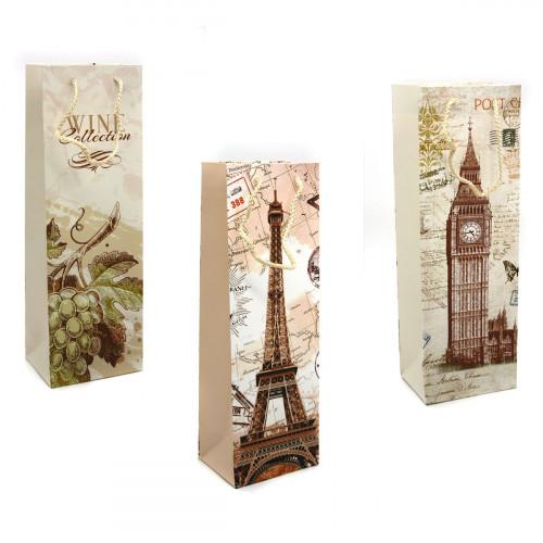 Пакет №9001+9006 (9006/9001) подарочный для бутылки 4рис (12*36*9)см (480)