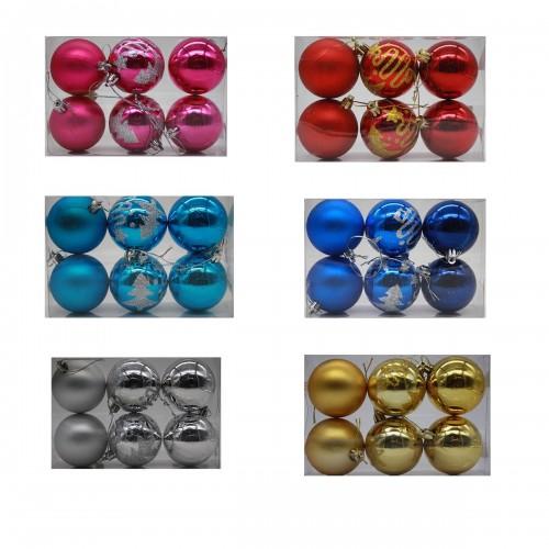 Шары новог. №DC-14101 диам. 6см 6шт 6цветов в ПВС колбе, в колбе один цвет в ящике микс цветов (120)