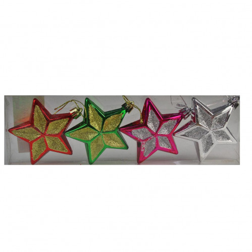 Игрушка №DC-14545 (YH-14545) звезда цветная, 4шт, ПВС-коробка (420)