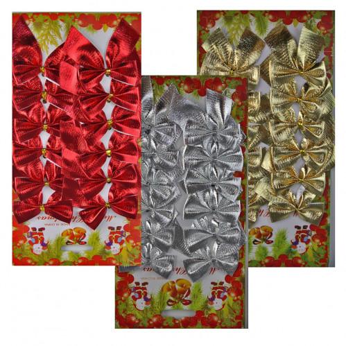 Бант №DC58-17820 12шт на листе, 12*24см, один цвет на листе, 3цвета, микс в ящике (1000)