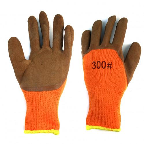 Перчатки №П-220-1 нейлон. оранж. пена корич. 70гр. (480)