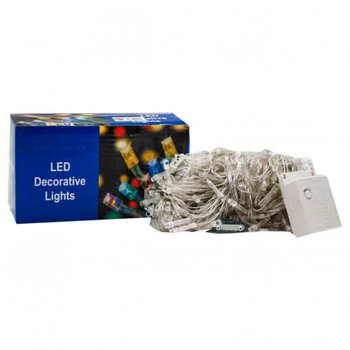 Гирлянда №NC127-100-MIX прозр. 5шнур. 8функ. 100LED лампы разного цвета 8м 220v в кор. (100)