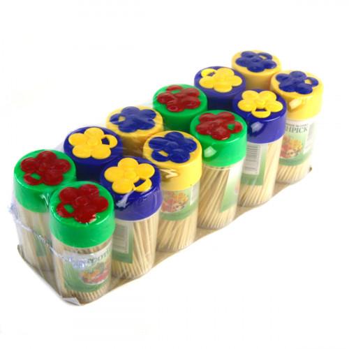 Зубочистки №360-2 150шт в банке с крышкой ромашка 12банок в наборе (600)
