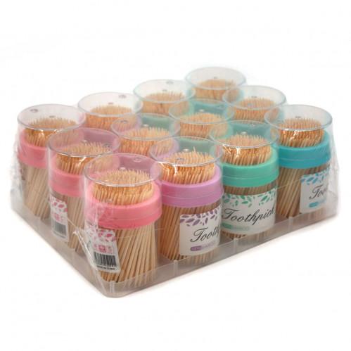 Зубочистки №516-3 бамбук. в кругл.  прозр. банке 12шт а наборе 4цвета (360)