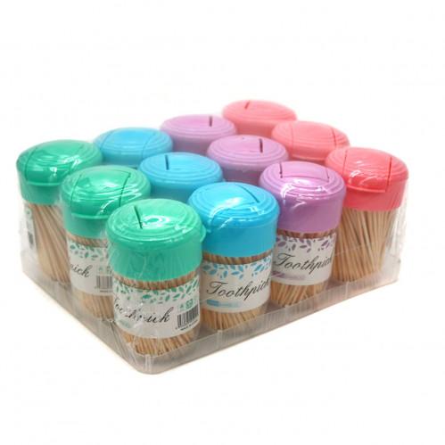 Зубочистки №5227-3 (X5227-3) 200шт в круглой банке 12 банок в наборе 4 цвета (360)