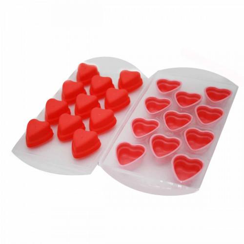 Форма №503А-15 для льда силикон. и пл. фигура Сердца бол. 11разделов в кл. 3цв (200)