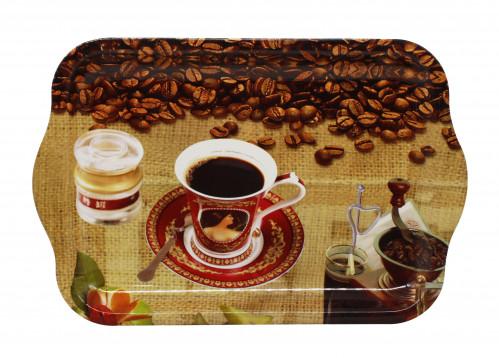 Разнос №4015 пл. прямоуг. с руч. с рис. кофе (40*26*2,5)см (60)