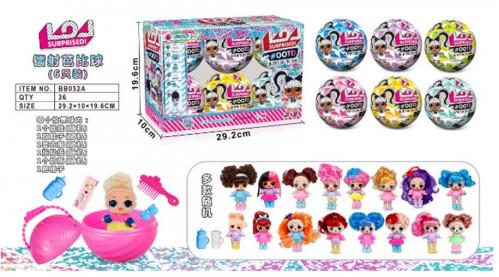 Игрушка №ВВ052А кукла  шарик сюрприз 4цв 10см 6шт в кор. (36)