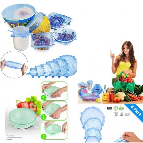 Крышка №WEQ-006 (№HD-188) для посуды силик. 6шт 6размеров 100гр. 3цв в кл. (200)