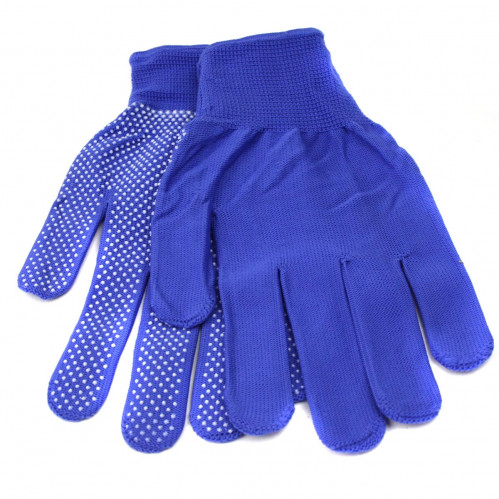 Перчатки №А701 женские син. цв. бел. точ. 12пар 20гр (600)