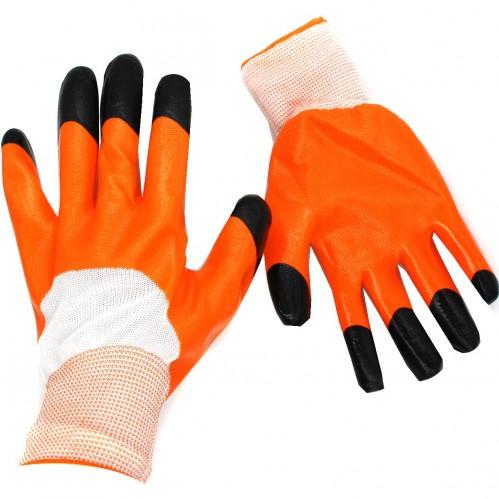 Перчатки №А273-1 оранж. стрейч залита краска (600)