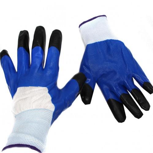 Перчатки №А274-1 син. нейлон стрейч залита краска (600)