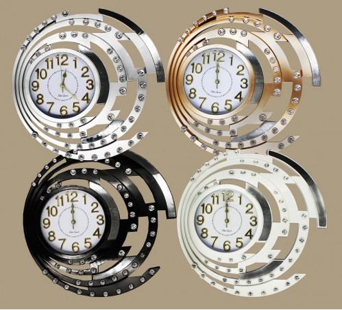 Часы №CZK-8873ZK настенные пл. кругл. 47см 4цв. с кружевой с камн. в кор. (15)