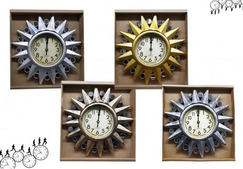 Часы №CZK-8828AE настенные пл. кругл. 26см 4цв. с кружевой со стекл. в кор. (40)