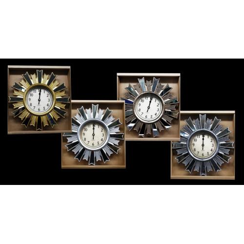 Часы №CZK-8827AN настенные пл. кругл. 26см 4цв. с кружевой со стекл. в кор. (40)