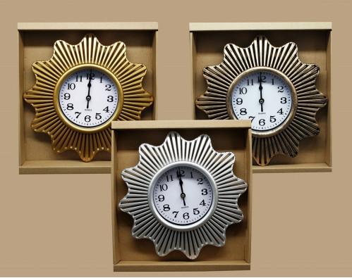 Часы №CZK-8826J настенные пл. кругл. 26см 3цв. с кружевой в кор. (40)