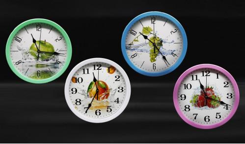 Часы №CZK-6023SG настенные пл. кругл. 4цв. циферблат с узор. фрукт. 23см  в кор. без шума (60)