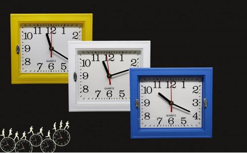 Часы №WY-501 настенные пл. прямоуг. 3цв. (22.5*19.5)см  в кор. без шума (72)