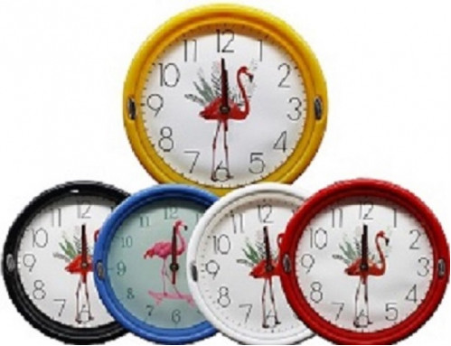 Часы №WY-503-2 настенные пл. кругл. 5цв. циферблат с узор. фланминго 23см  в кор. без шума (60)