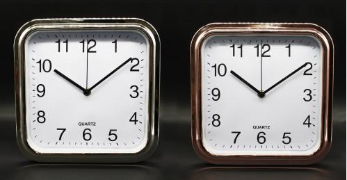 Часы №XH-669X настенные пл. квадр. 25см 2цв. циферблат белый в кор. без шума (40)
