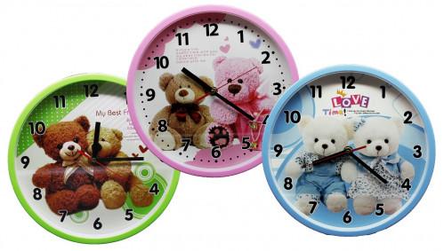 Часы №XX-99130 настенные пл. кругл. циферблат с узор. мишки. 25см 4цв. в кор. без шума (60)