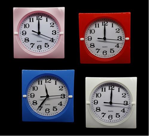 Часы №HA-182-1 настенные пл. квадр. циферблат белый 17см 4цв. в кор. с шум. (90)