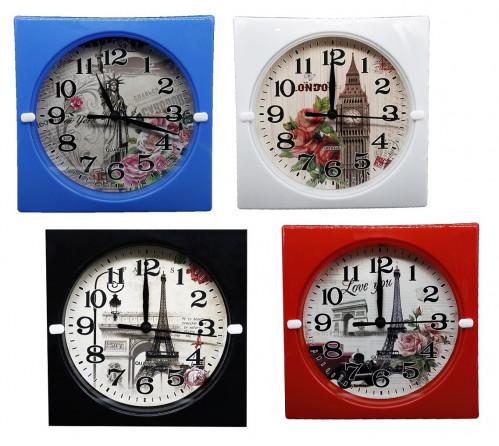 Часы №HA-182-2 настенные пл. квадр. циферблат с узор. башни 17см 4цв. в кор. с шум. (90)