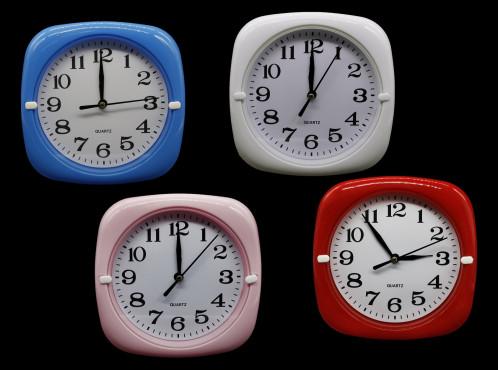 Часы №HA-183 настенные пл. квадр.-кругл. циферблат белый 17см  4цв. в кор. с шум. (90)