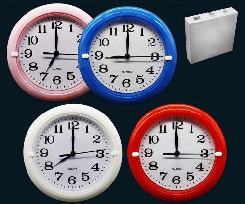 Часы №HA-181-1 настенные пл. кругл. циферблат белый 17см  4цв. в кор. с шум. (90)