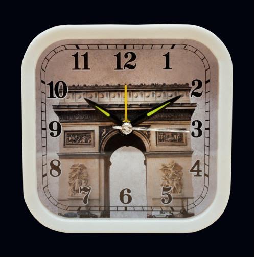 Будильник №XHY-6006-1 пл. кругл. циферблат с узор. башня  (9.5*4)см в кор. белый цв. с шум. (200)