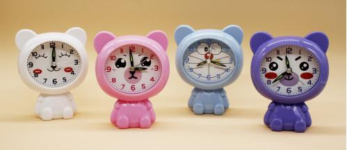 Будильник №RF-256 пл. мишка (10*5*12.5)см в кор. 4цв.  с шум. (216)