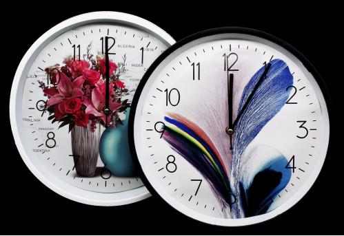 Часы №YK1099 настенные пл. кругл. 2цв. циферблат с узор. цветочки (30*30*4.5)см  без шума (30)