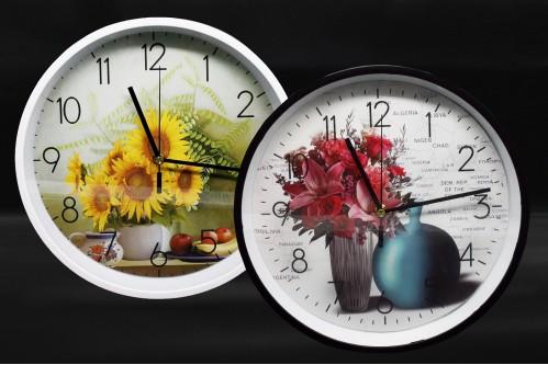 Часы №YK1098 настенные пл. кругл. 2цв. с узор. подсолнух и фрук.  (30*30*4.5)см без шума (30)