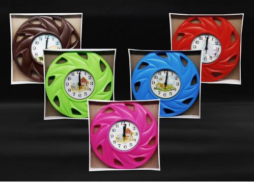 Часы №503 настенные кругл. с пл. кружевой в кор. (14*14*3)см 5цв. с шум. (40)