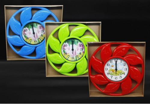 Часы №504 настенные кругл. с пл. кружевой в кор. (14*14*3)см 3цв. с шум. (40)