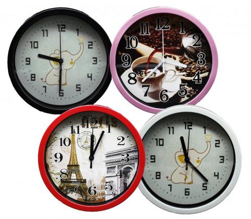 Часы №551 настенные пл. кругл. 4цв. циферблат с узор.  4разного (20*20*4)см  с шум. (60)