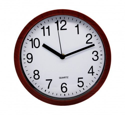 Часы №CYK-2312 настенные пл. кругл. рамки дерев. цв. 23см  в кор. без шума (60)