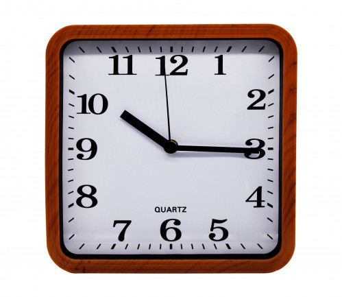 Часы №CYK-2313 настенные пл. квадр. рамки дерев. цв. 23см  в кор. без шума (60)