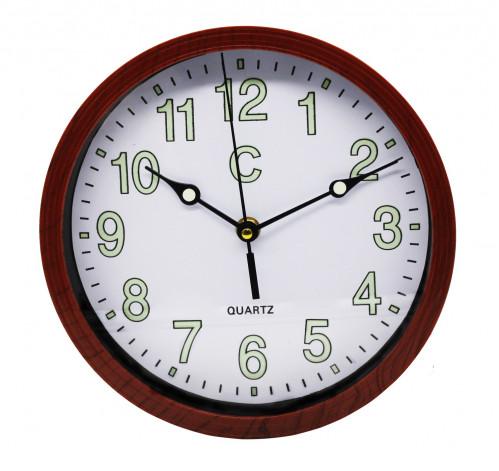 Часы №CYK-2314 настенные пл. кругл. рамки дерев. цв. светящие цифры  23см  в кор. без шума (60)