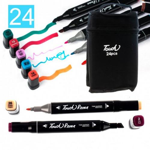 Набор скетч маркеров для рисования Touch Raven 24цв двусторонние профессиональные фломастеры (50)