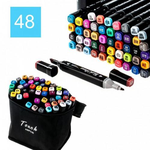 Набор скетч маркеров для рисования Touch Raven 48цв двусторонние профессиональные фломастеры (25)