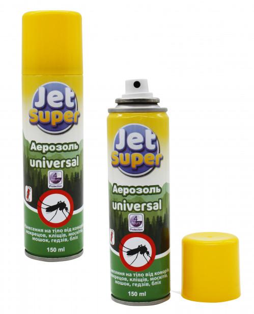 Аэрозоль от комаров Jet Super 150ml repellent Universal 4часа (48)